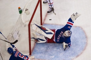Big saves, like this one the the second period, have propelled Rangers this postseason