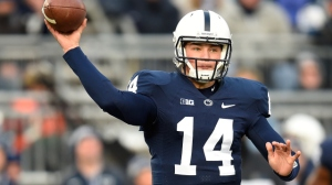 STATE COLLEGE, PA - NOVEMBER 29:  Christian Hackenberg #14 of the Penn State Nittany Lions throws a pass during the first quarter against the Michigan State Spartans at Beaver Stadium on November 29, 2014 in State College, Pennsylvania.  (Photo by Joe Sargent/Getty Images)